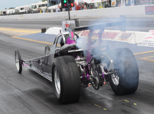 Arnie Schwemmer's ultimate target is 8.90 racing with his ever evolving snowmobile-powered dragster