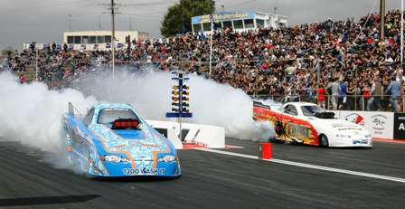 Top Alcohol Funny Cars in action at Adelaide in South Australia