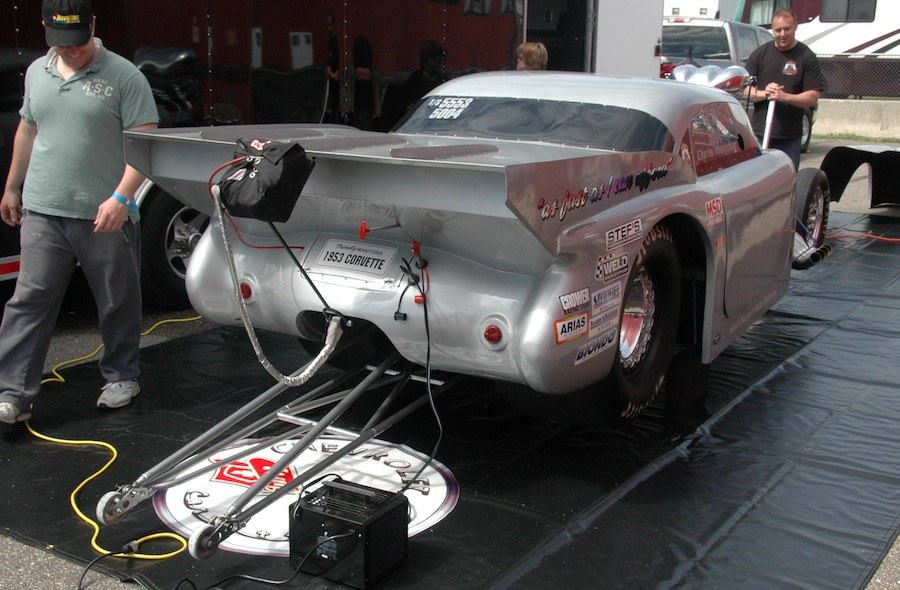 The '53 Corvette is a prime example of a well thought out and homebuilt drag car