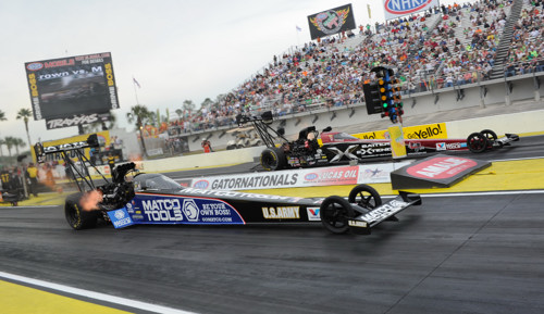 Antron Brown (near lane) beat his teammate Spencer Massey in the semi-final round