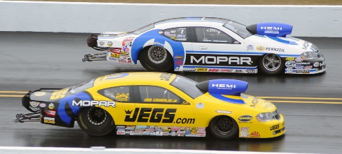 The Pro Stock final was all Mopar with Allen Johnson edging out Jeg Coughlin via a holeshot