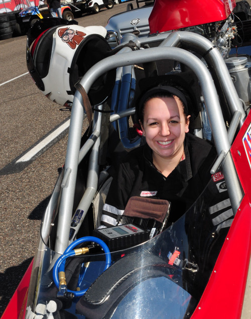 """""""Frankie"""" Plaizier-Giroux entered her Team Ace Racing dragster in Super Comp."""