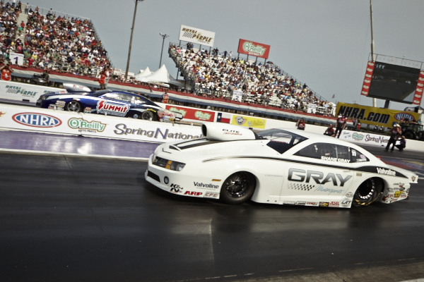 The Pro Stock final was all Camaro -- with Jason Line (far lane) edging out Shane Gray in a super close battle.