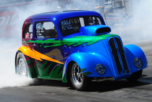 """Casey Plaizier race two cars at the event including his team's signature """"Manglia"""" Super Gasser."""