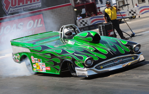 Justin Bond's new '57 Chevy  from British Columbia was a real eye catcher in Super Gas