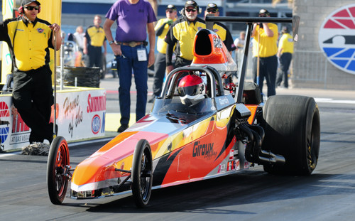 Frankie Plaizier-Giroux drove her husband Dale's dragster in Super Comp.