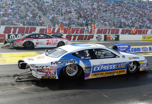 Driving a brand new race car -- Allen Johnson dominated Pro Stock at Las Vegas beating Erica Enders-Stevens in two Pro Stock final round showdowns