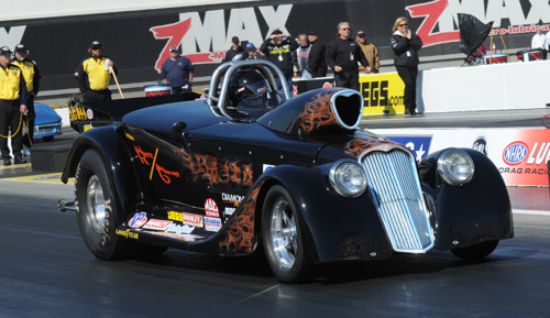 One of the cooler cars entered in Super Gas was Richard Grenier's Mopar-powered Willys roadster from Quebec.