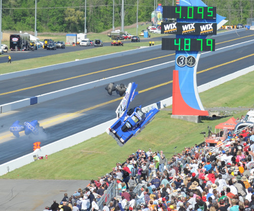 Robert Hight produced a shocking moment when the body of his Ford Mustang FC was pitched into the crowd!