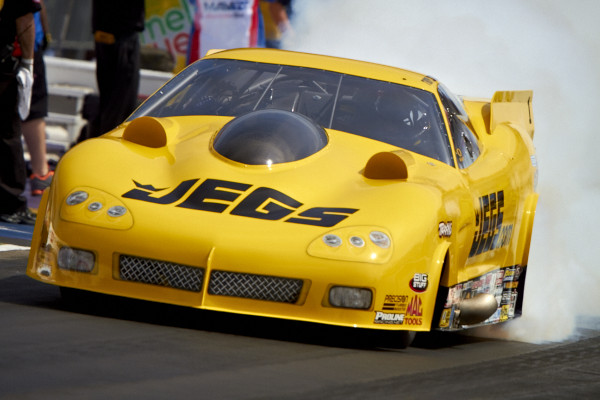 Defending NHRA Pro Mod World Champ Troy Coughlin set top speed of the event at 248.71 mph driving the turbocharged Jegs Corvette.