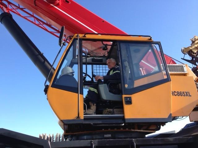 Team owner Tony Martino in SANY prototype high capacity lift crane.