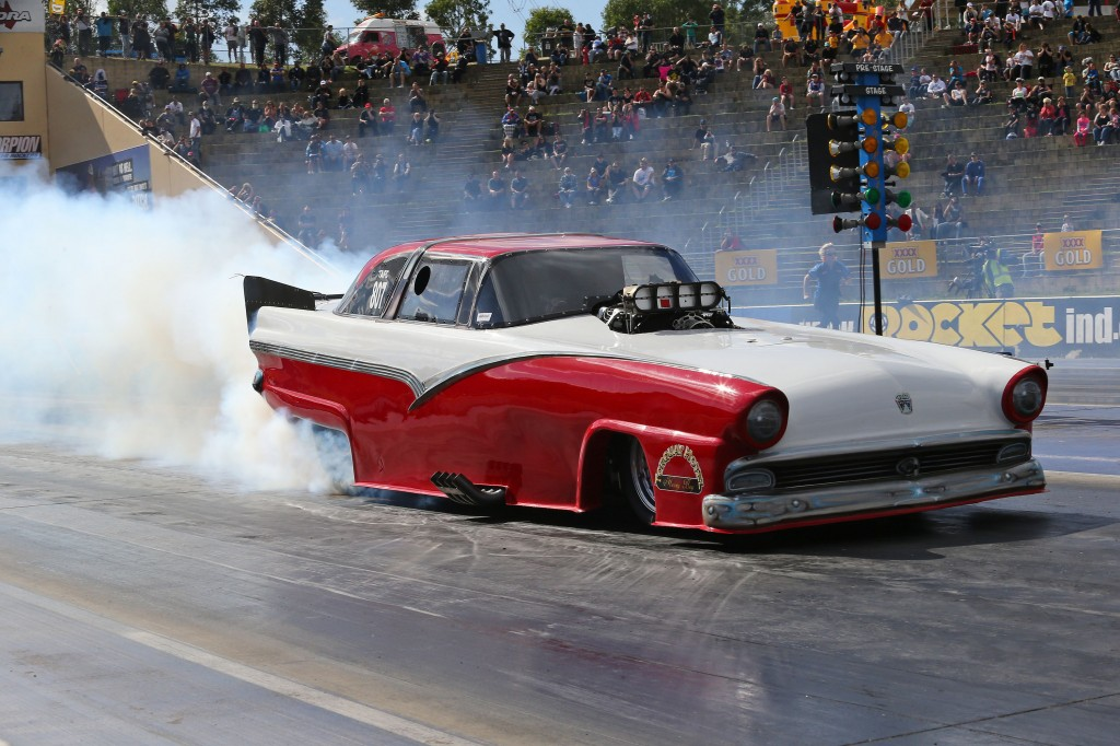 Russell Mills scored a huge upset win in Top Alcohol driving his Crown Victoria-bodied Funny Car