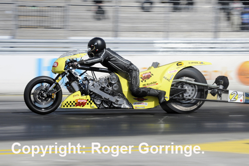 Peter Svensson won the event's Top Fuel Bike title