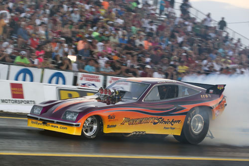 Peter Gallen's awesome Poverty Stricken Monza won in Nostalgia Funny Car