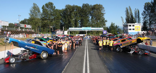 A line-up of 29 Funny Cars invaded Mission Raceway last weekend.