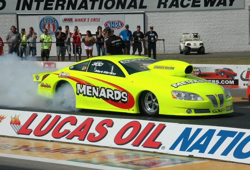 Ontario's Mark Martino had a very good run at BIR for his sponsor Menards -- going to round #2 in Pro Stock
