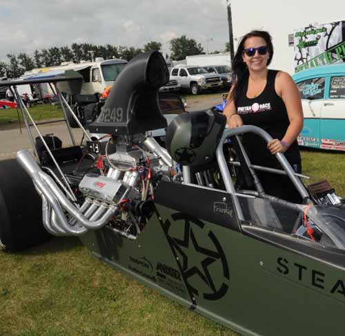 Frankie Plaizier-Giroux with her new look Stealth Performance sponsored dragster.