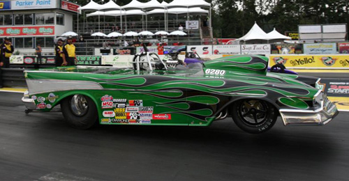 Justin Bond (from Mission) ran his meticulous and topless '57 Chevy in Super Comp.