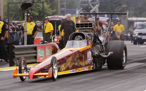 Ray Martin drove Hugh Ridley's BC-based dragster to the pole in TAD with a career quick 5.263 secs