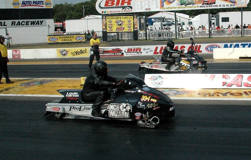 BIR's unique Pro Stock Snowmobile eliminator featured Louie Wirbel vs Ron Bray in the final.