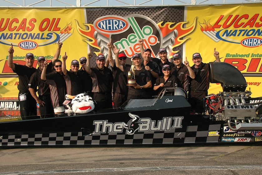 """Lots of """"Bull"""" in victory lane during NHRA's Lucas Oil Nationals."""