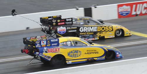 Toronto-native Jeff Arend produced a pretty darn big upset when he defeated pole sitter Matt Hagan in round one of fuel FC - 4.144 secs to 4.248 secs