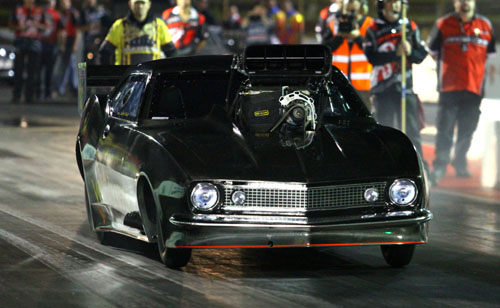 Stuart Bishop qualified #1 and set low ET in Top Doorslammer running 5.076 secs within the 1000' class competition.