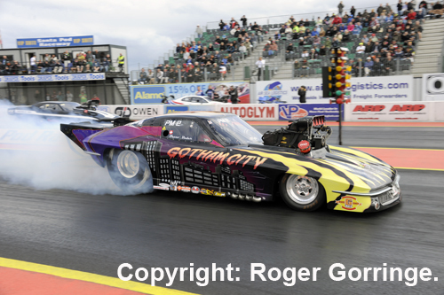 Bruno Bader scored in Pro Mod driving his fan favourite Gotham City Corvette
