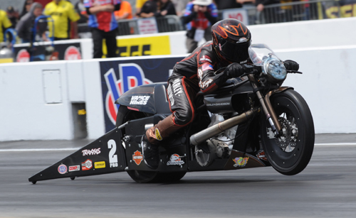 Andrew Hines picked up his first win of the season in Pro Stock Motorcycle