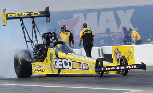 Morgan Lucas' 9th career Top Fuel win included low ET of the event at 3.749 secs