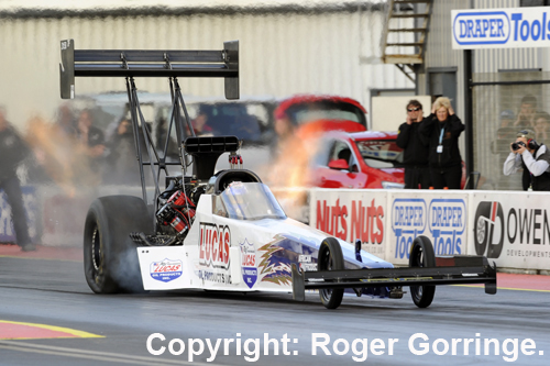 England's own - Chris Andrews - won the Top Fuel event title at Santa Pod