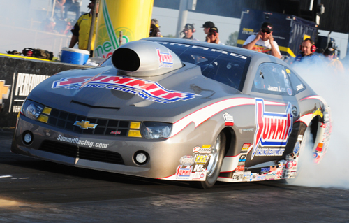 Jason Line's Summit Racing backed Chevy Camaro prevailed in Pro Stock