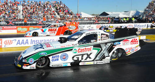 John Force beat Jack Beckman for the event's fuel FC crown.