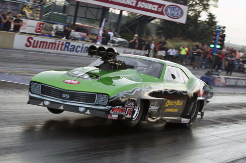 Last years Shakedown Pro Mod winner Eric Latino of Whitby Ont was in fine form cruising to a 5.931 @ 243.55 mph  in his '69 Camaro.  Eric was the quickest of the Canadians present.