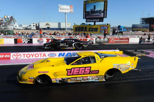 The last NHRA Pro Mod final of the season saw Troy Coughlin defeat Danny Rowe.  (Auto Imagery Photo)