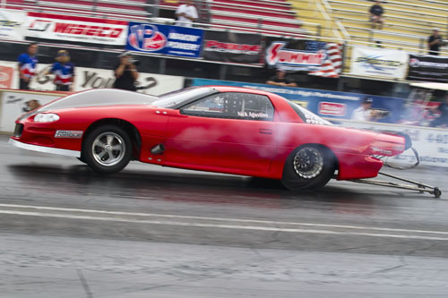 Nick Agostino of Markham Ont set the second quickest time of 4.168 @ 190.73 mph in the 8th mile in the Outlaw 10.5 class.