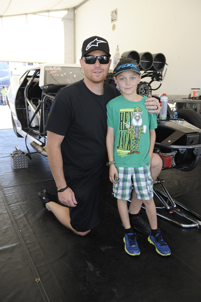 Cranbrook BC's Craig Cawte tried his hand in NHRA Pro Mod again but his 6.084 secs just missed the 6.076 secs bump.  That's Craig with his son Curtis.