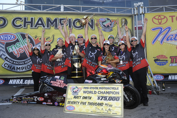 Matt Smith celebrates his 2nd career NHRA Championship in Pro Stock Motorcycle