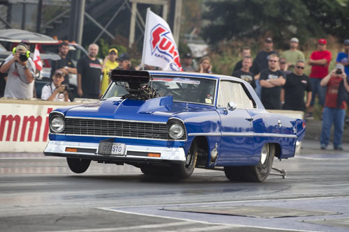 Tony Presto of Oakville Ont let the competition know he was going after his 2nd Shakedown win in Heavy Street with his 4.428 @ 165.13 mph in his super clean 1967 526 Hemi powered Chevy II