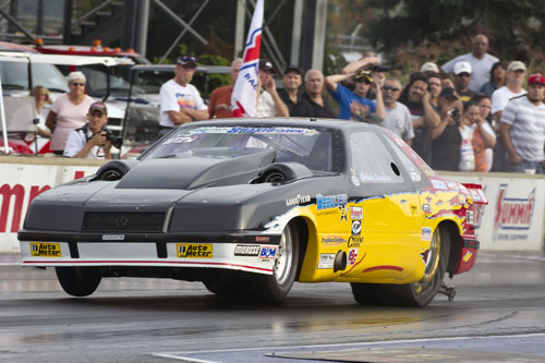 Cedric Beaulieu of Lac-Etchemin, Que showed off his awesome 528cid Twin Turbo Lebaron. It ran a 6.817 @ 204.08 mph