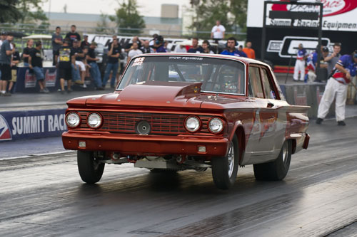 Brent Foster of Woodslee Ont proved that his car isn't some trailer queen show car! His '62 Fairlane equipped with a Pro Charger ran a 4.817 @ 154.60 mph in the Limited Street class.