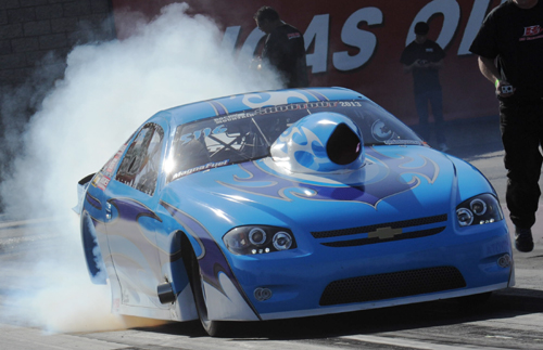 Paul Glandon (Stoney Plain AB) entered his Chevy Cobalt in the Outlaw 10.5 class and went 7.119 secs during qualifying.
