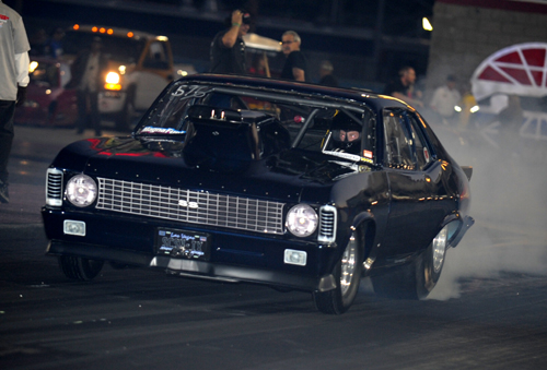 Calgary's Mike Walteison entered his nitrous-injected Chevy Nova in the Outlaw 10.5 class and ran a 7.045 secs to qualify deep.