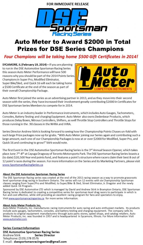 Auto Meter to Award $2000 in Total Prizes to DSE Champions