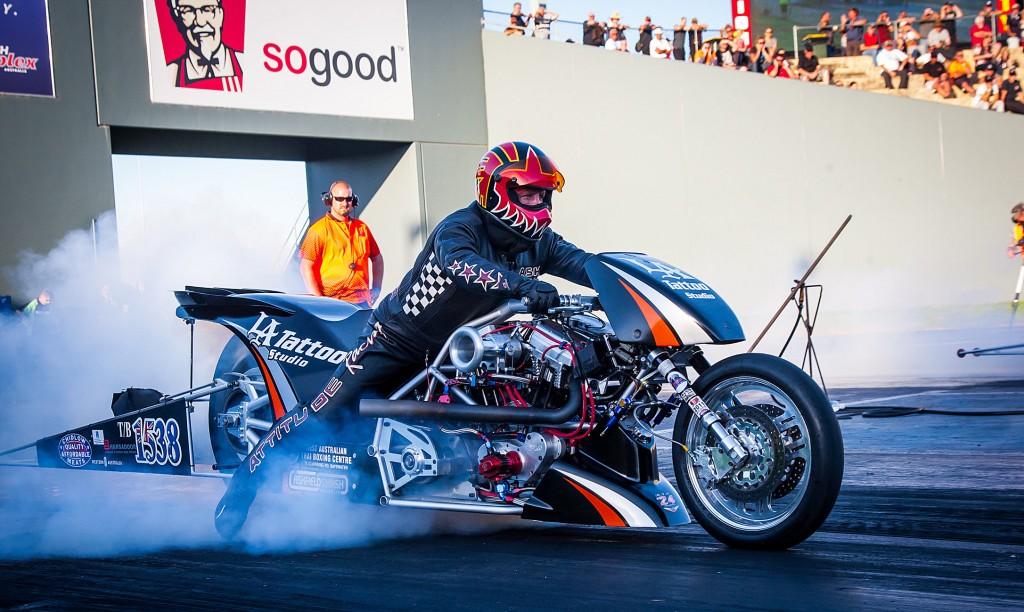 Mark Ashelford made both Top Fuel Motorcyle final rounds