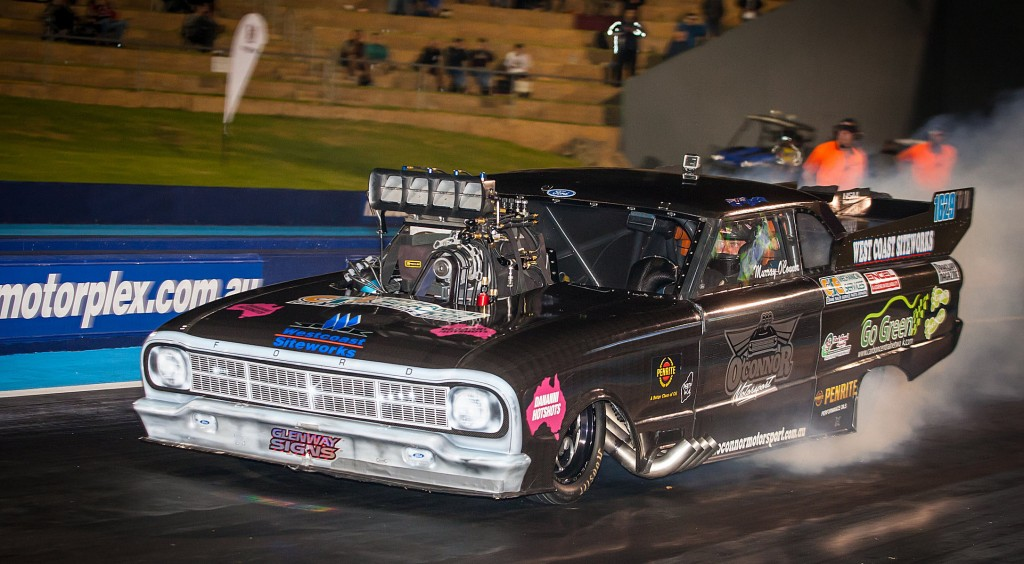 Murray O'Connor's ultra cool Ford Falcon qualified #1 with a low ET of the meet effort 5.908 secs in TD