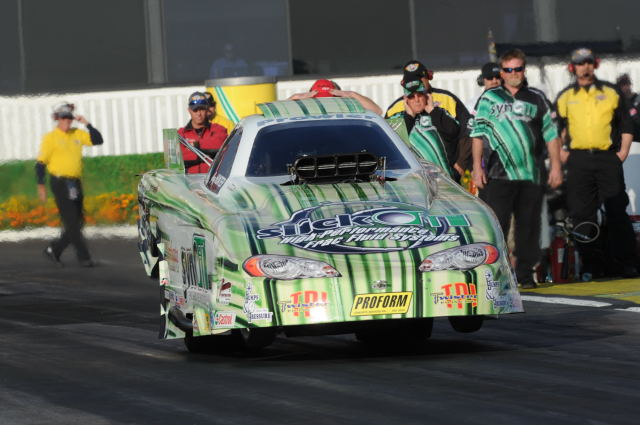 Greg Hunter made his NHRA national event debut driving Geoff Goodwin's Synoil Racing Chevy at Pomona last weekend