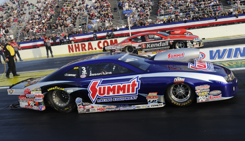 The Pro Stock final was a classic Chevy vs Dodge affair with Jason Line edging out V. Gaines.