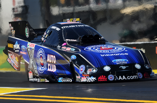 Robert Hight wheeled the AAA Auto Club Mustang to low ET of the event at 4.061 secs to take Funny Car eliminator