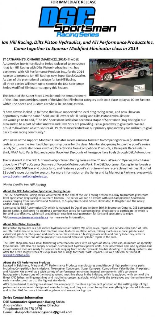 Ian Hill Racing, Dilts Piston Hydraulics, and ATI